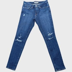 Levi's 711 Distressed Skinny Ankle Jeans Size 27